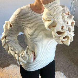 Leith Anthropologie Ribbon Braided Sleeve Knit Top